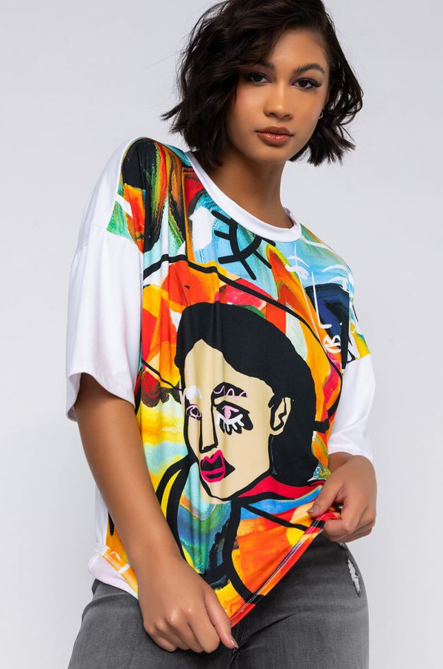 Front View Stop And Stare Graphic T Shirt in White Multi