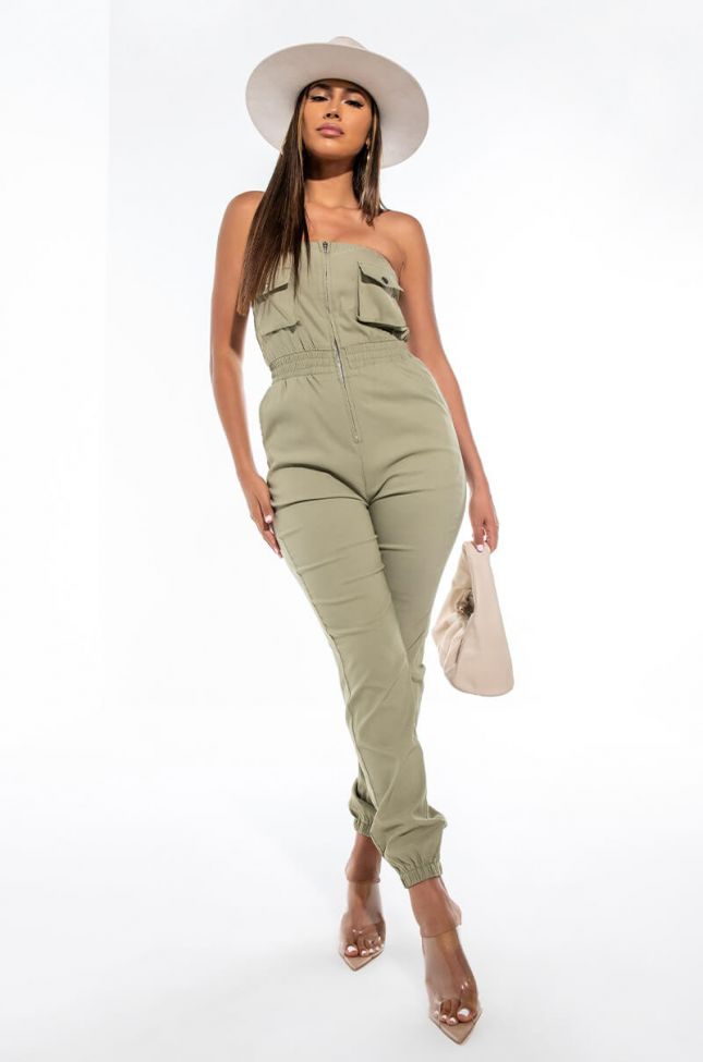 Front View Stop And Stare Tube Utility Jumpsuit