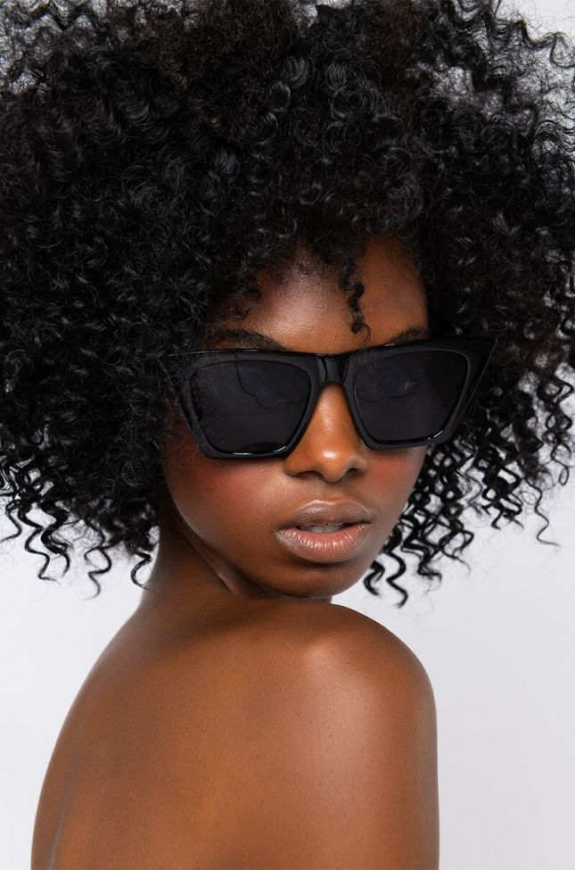 Front View Straight Edge Eyewear in Black