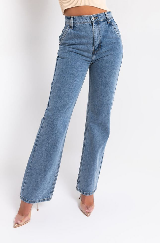 Front View Straight Up High Rise Relaxed Jeans in Medium Blue Denim