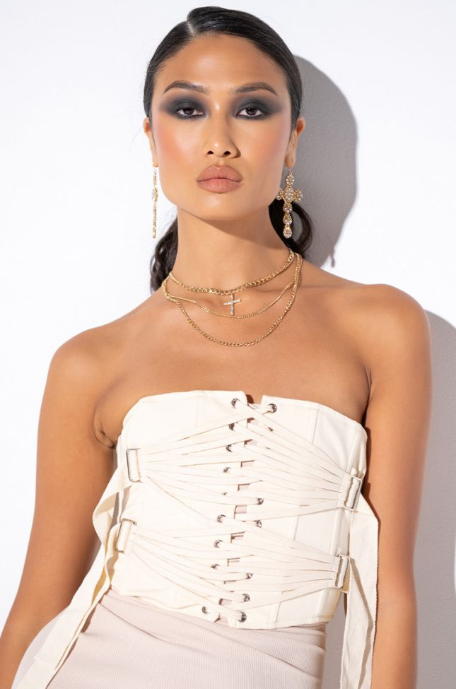 Front View Strap Strap Corset in Ivory