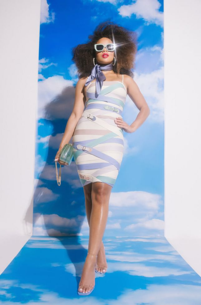 Strap Up Bandage Mini Dress in Brown Multi