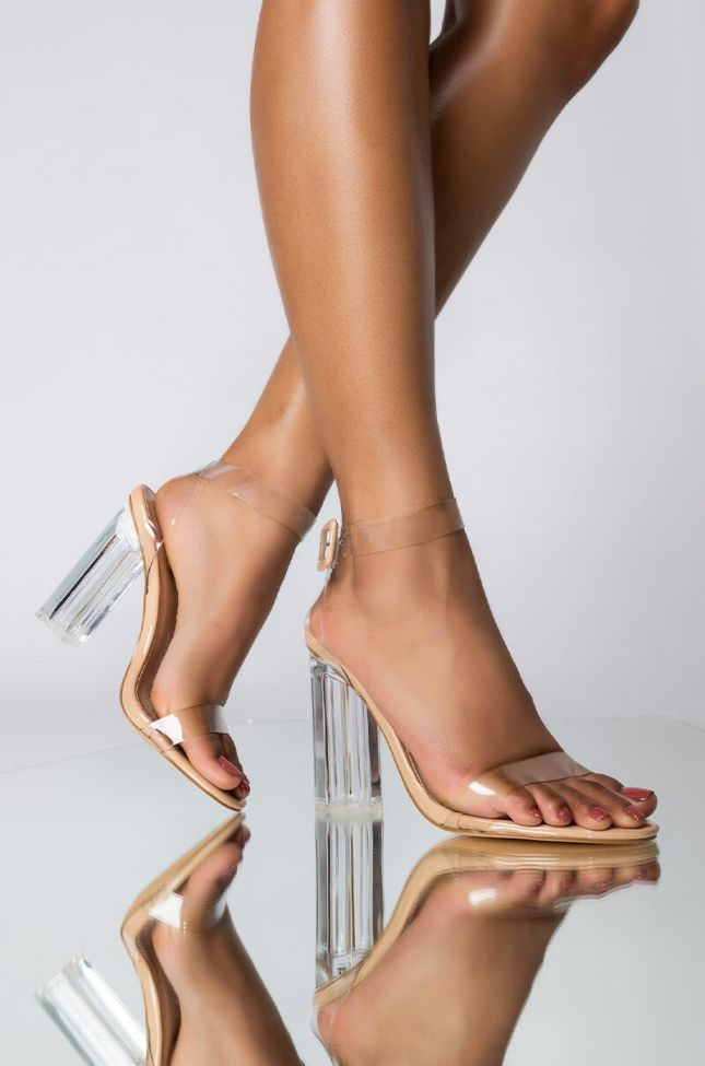 Front View Stroll Down Memory Lane Chunky Heeled Sandal in Nude Patent