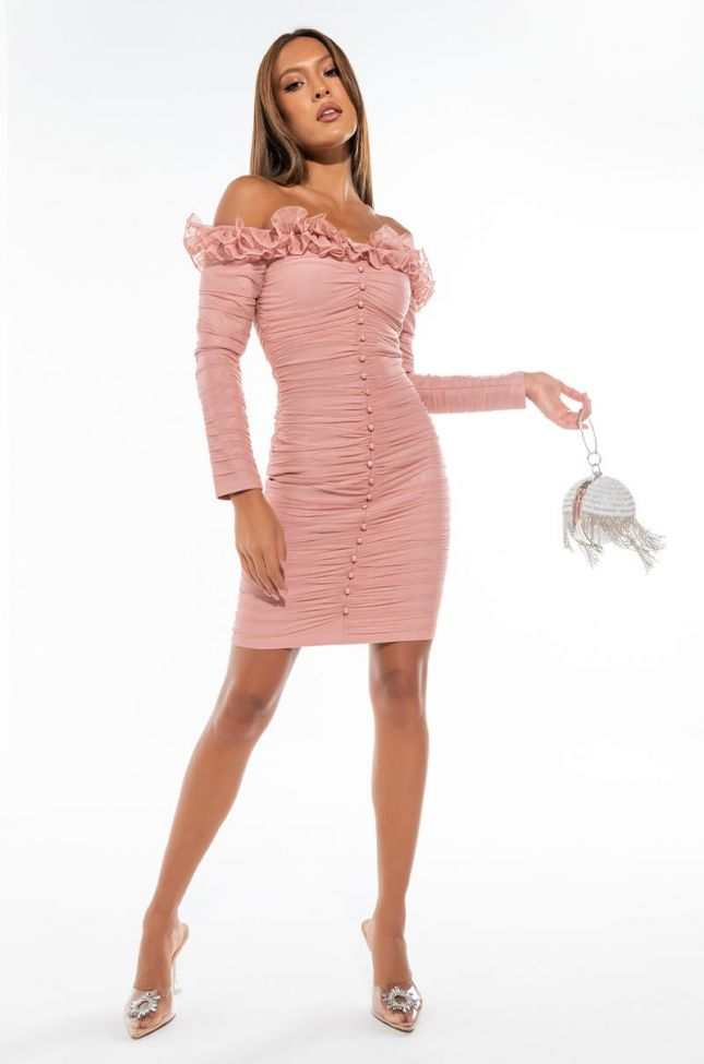 SUCH A GIRL THING OFF THE SHOULDER LONG SLEEVE MINI DRESS