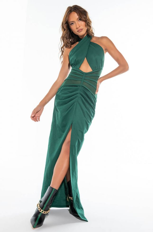 SUCH A LOOK MAXI DRESS WITH MESH WAIST
