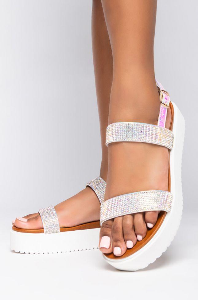 Front View Sugar And Spice Embellished Two Strap Flatform Sandals in Hologram