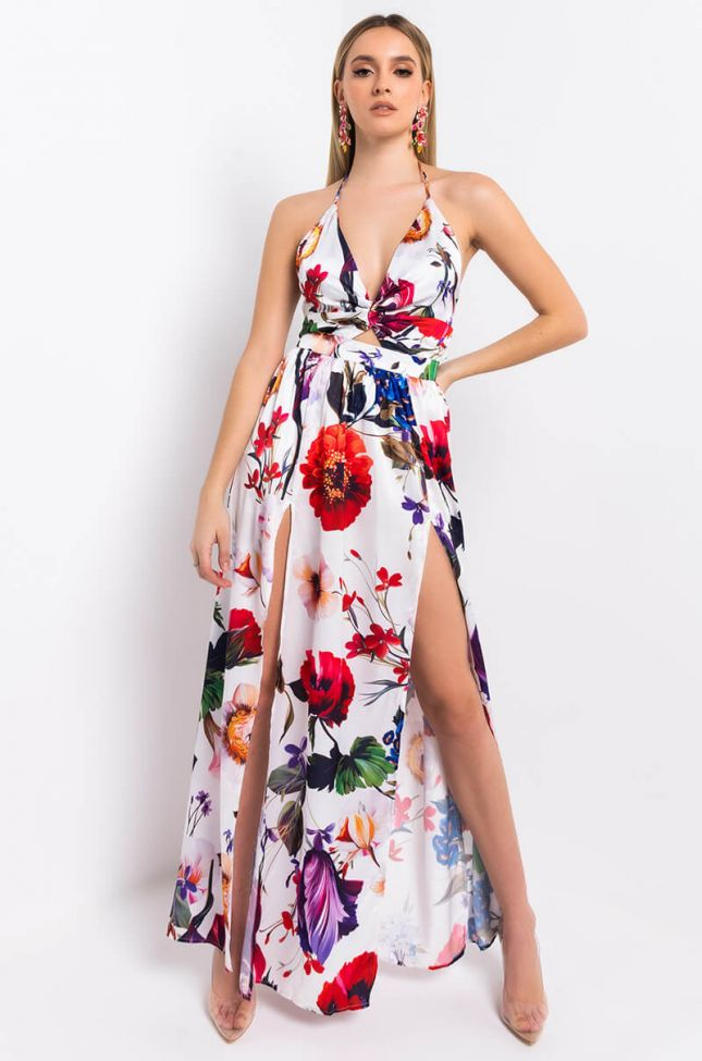 Front View Sugar Plum Maxi Tank Dress in White