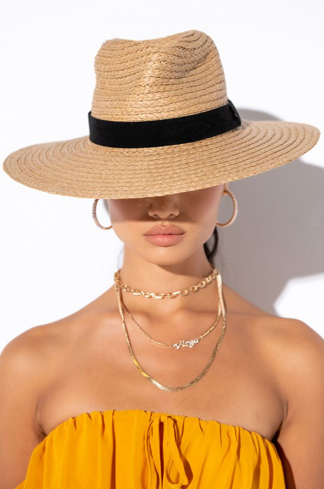 Front View Summer 21 Straw Brim Hat in Taupe