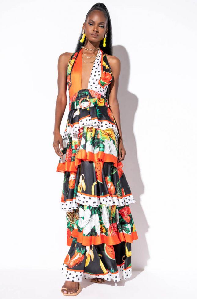 Front View Summer Bae Wrap Top Maxi Dress in Orange Multi