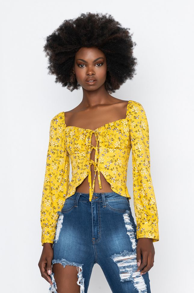 Front View Summer Chills Floral Crop Blouse in Yellow Multi