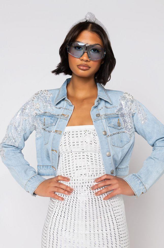 Front View Summer Lovin Applique Denim Jacket in Light Blue Denim