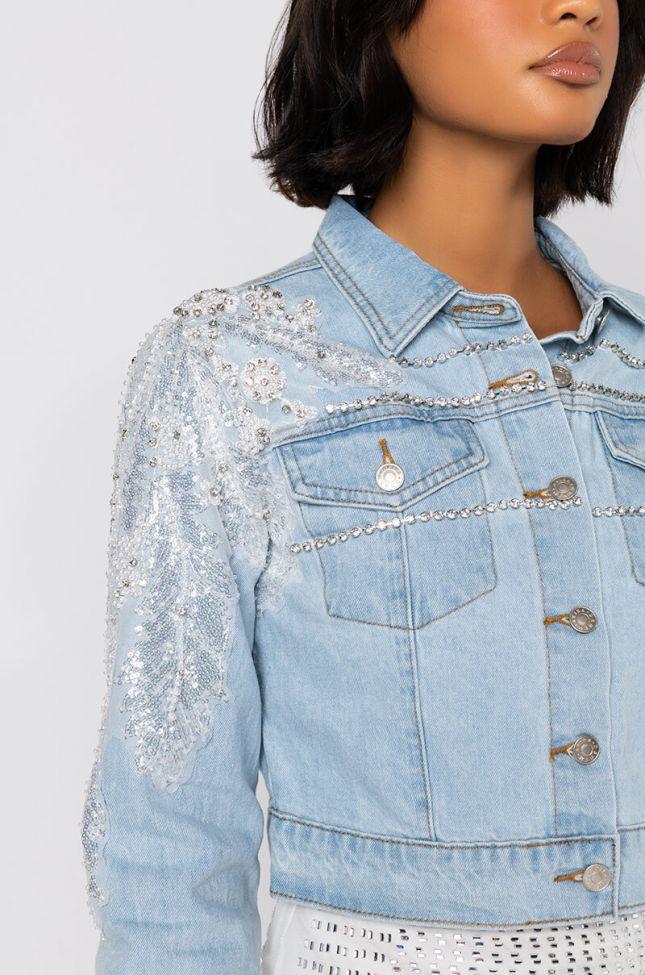 Summer Lovin Applique Denim Jacket in Light Blue Denim