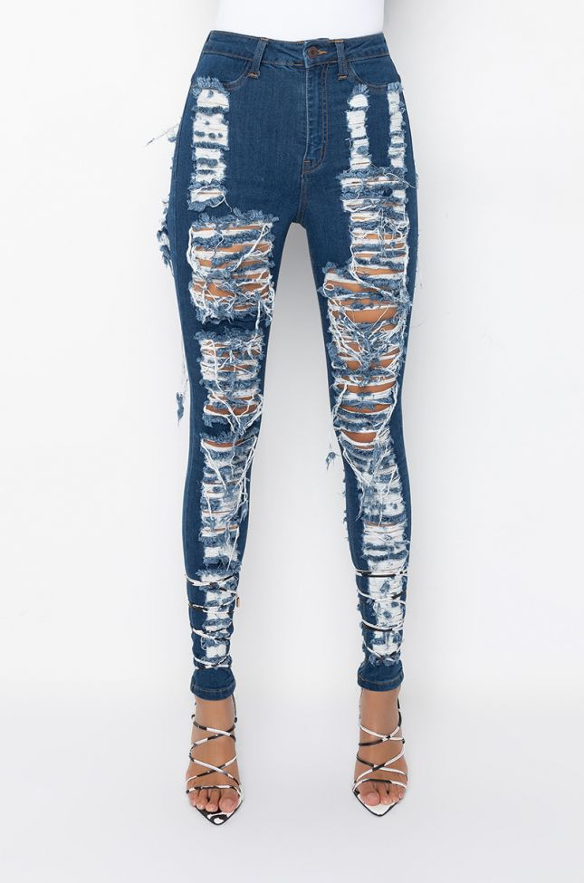 Front View Summer Vibe High Waist Distressed Skinny Jeans