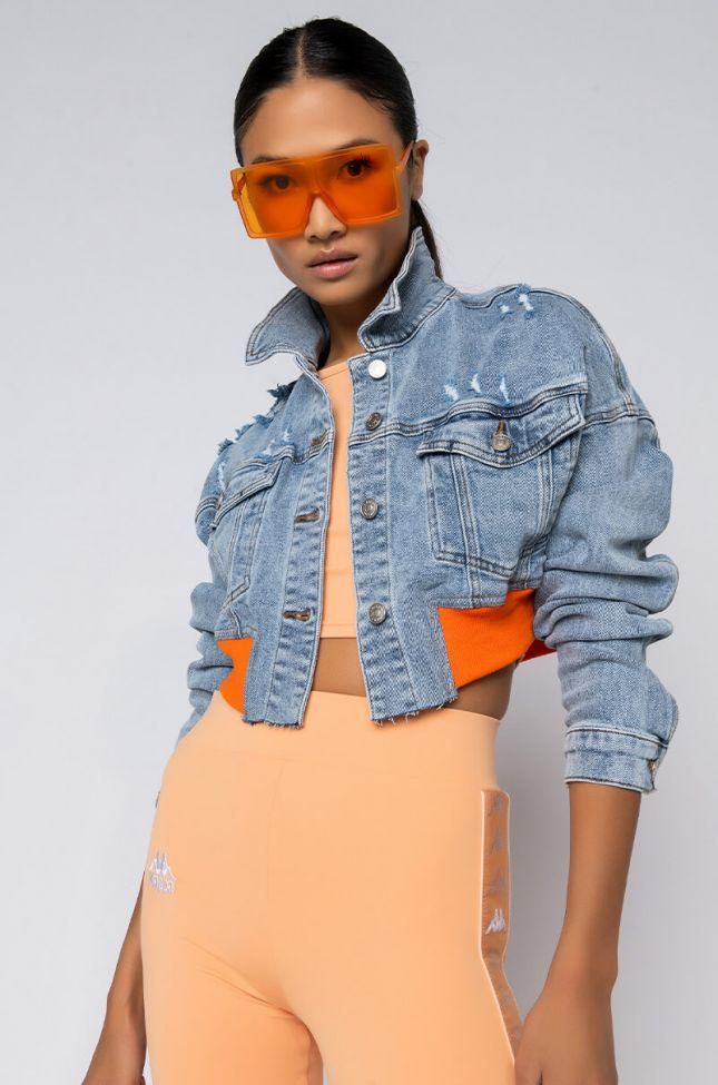 Front View Summers Back Orange Trim Crop Denim in Light Blue Denim