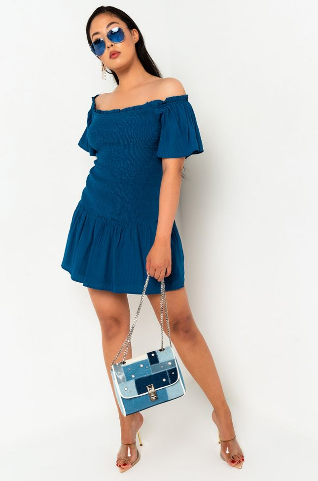 Front View Sunday Lovers Smocking Mini Dress in Dark Blue