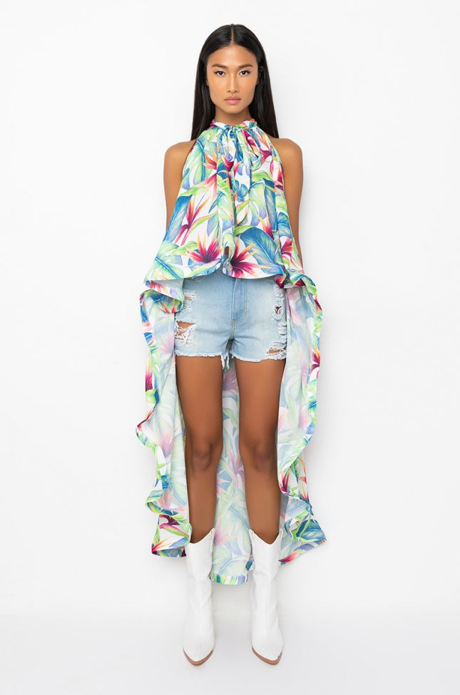 Side View Sunlight Glow High Low Halter Top Floral Blouse