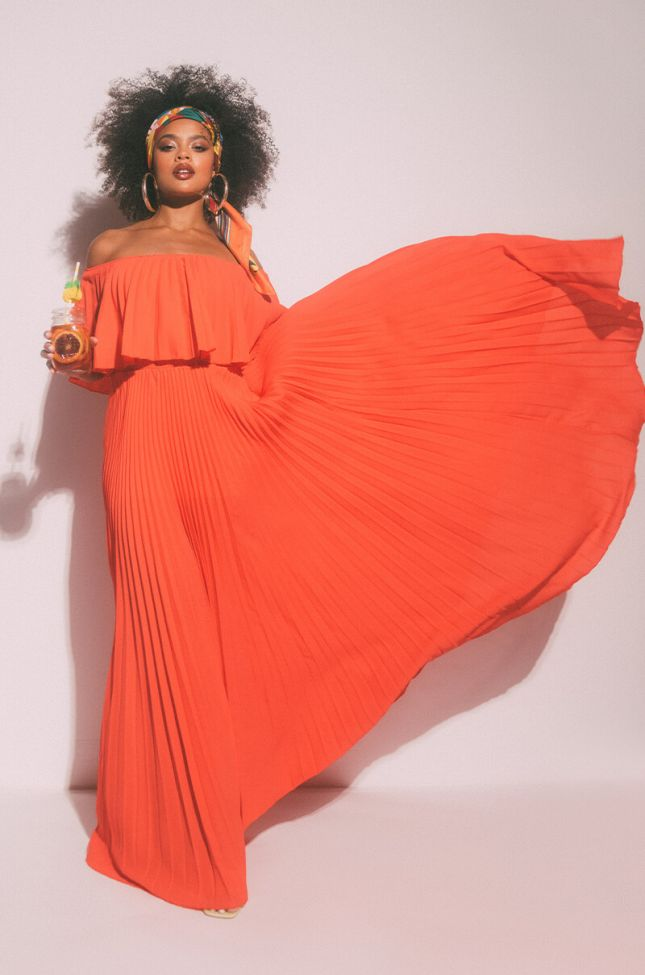 Front View Sunny Times Pleated Maxi Dress in Red