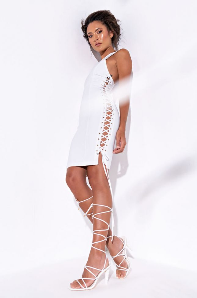 Sunrise Bay Mini Dress With Lace Up Sides in White