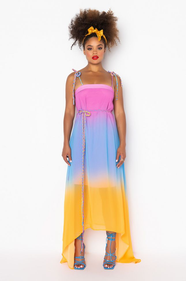 Front View Sunset Love Maxi Dress in Yellow Multi