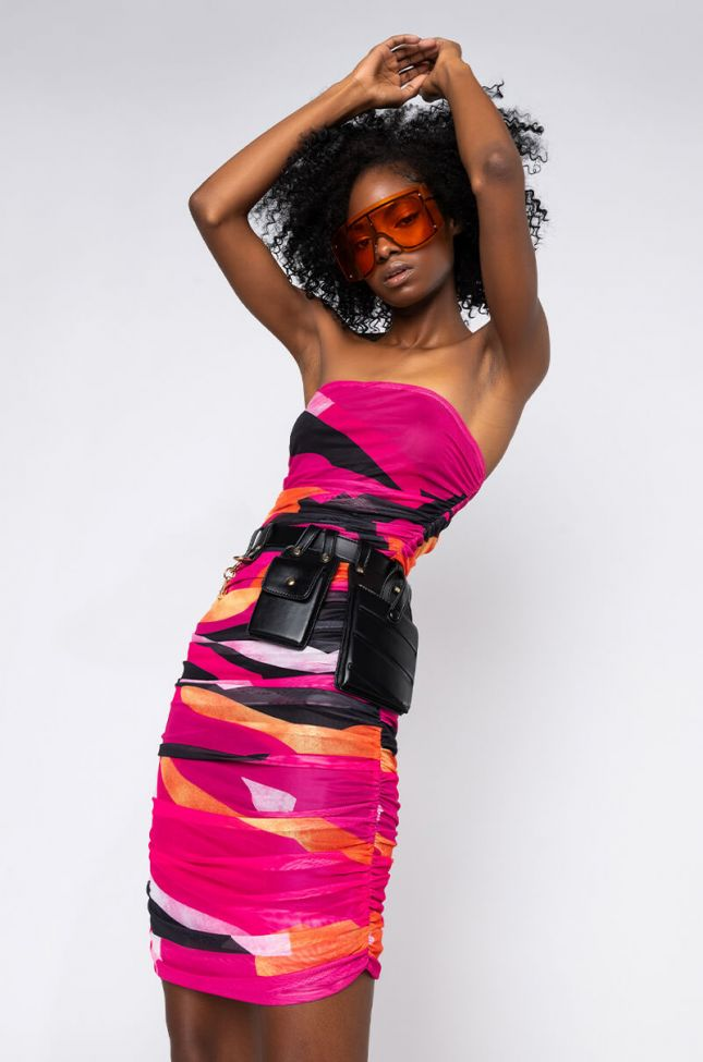 Front View Sunset Mesh Ruched Tube Dress in Pink