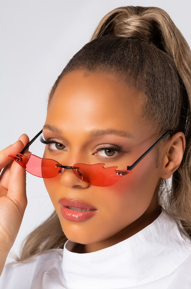 Side View Super Nova Girl Sunnies In Red in Red