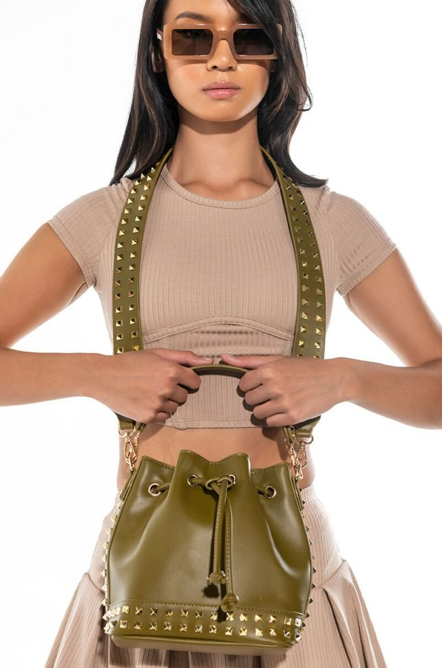 Front View Super Studded Bucket Bag