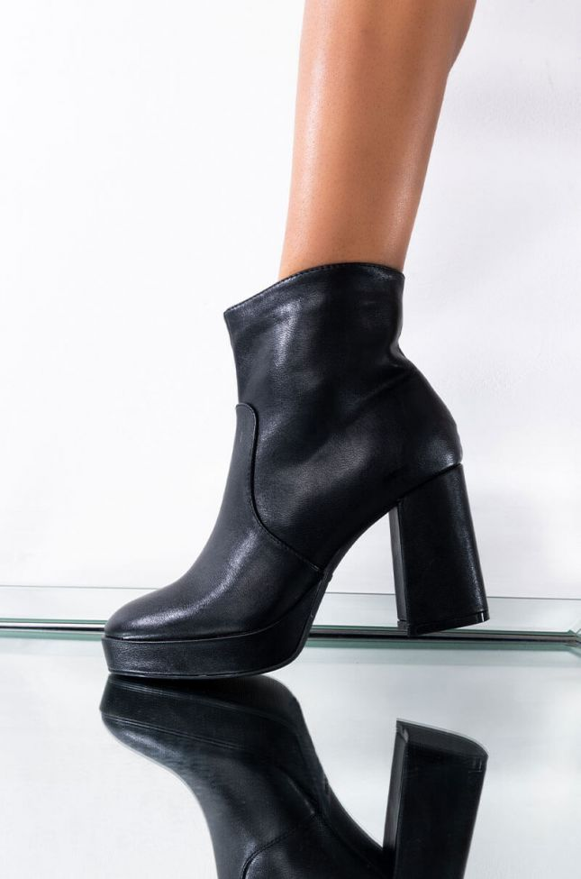 Front View Surprise Me Chunky Bootie in Black Pu