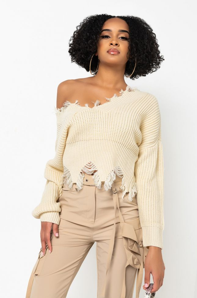 Front View Sweater Weather Distressed Long Sleeve Cropped Sweater in Ivory