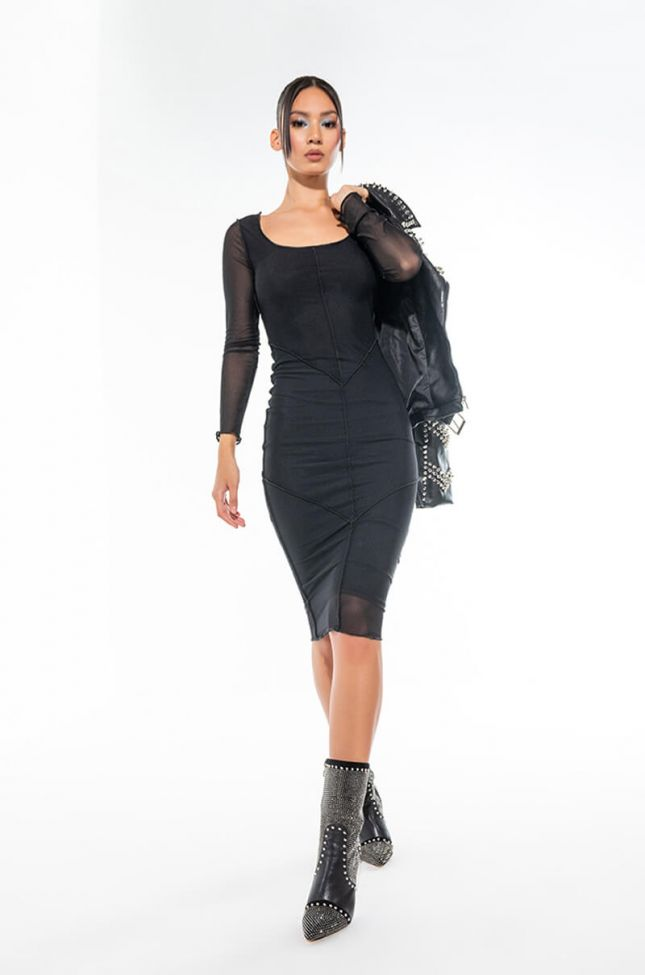Extra View Sweet And Savage Inverted Inseams Mesh Midi Dress