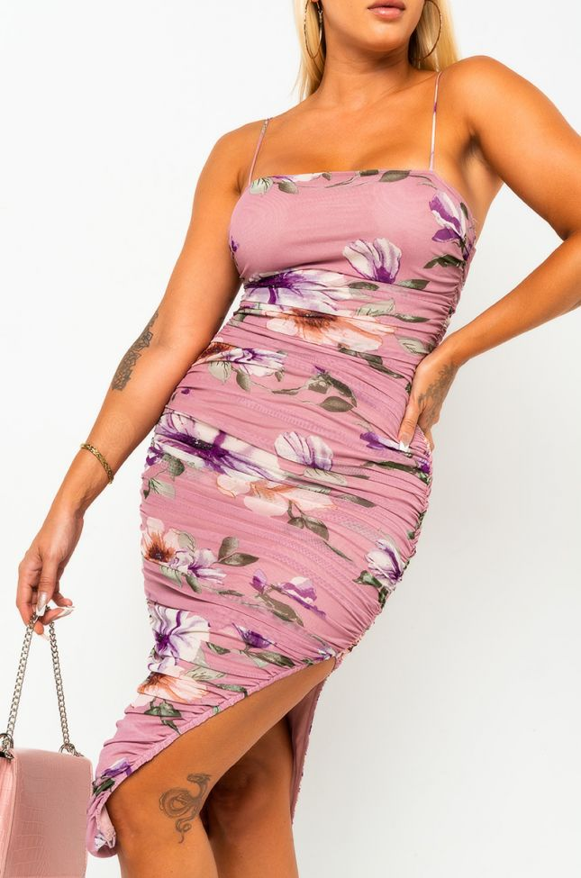 Front View Sweet Girl Tube Midi Dress in Pink Multi