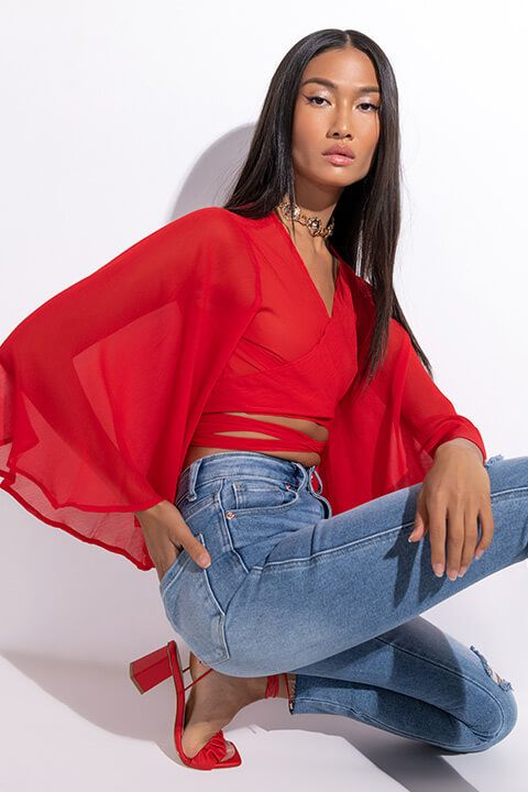 Front View Sweet Love Wrap Front Chiffon Blouse