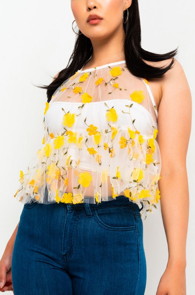 Front View Sweet Pea Sheer Spaghetti Strap Top in Yellow Multi