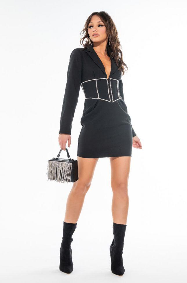 SWEET TING BLAZER DRESS WITH RHINESTONE CORSET DETAIL