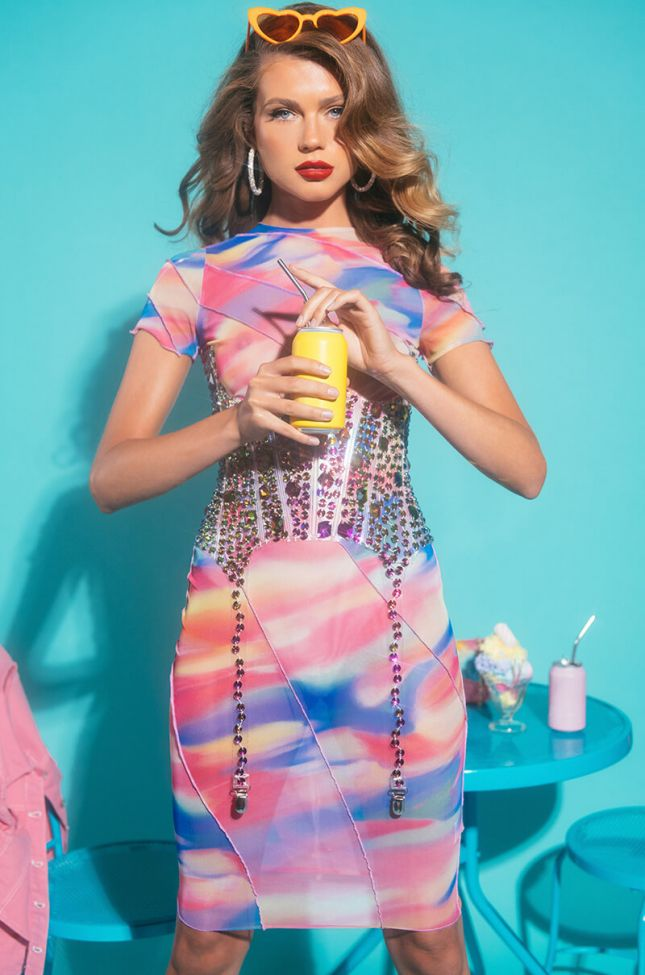 Front View Sweet Vibes Midi Mesh Dress in Pink Multi