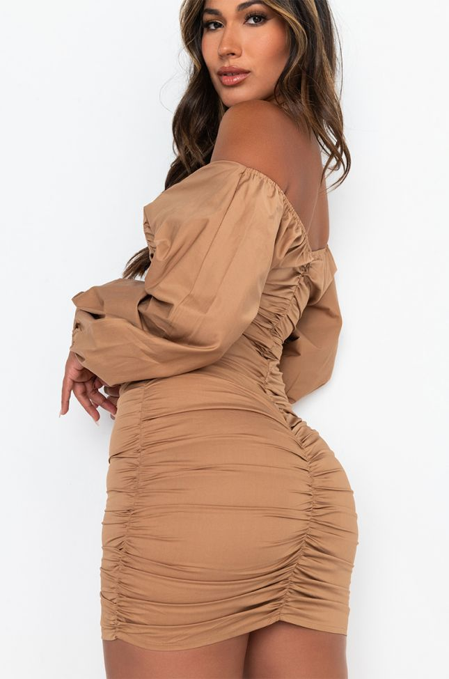 Full View Sweetie Stretch Poplin Off The Shoulder Shirt Dress