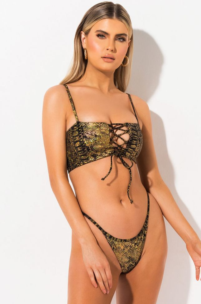 Front View Swim Suns Out Buns Out Bikini Bottom in Gold Multi