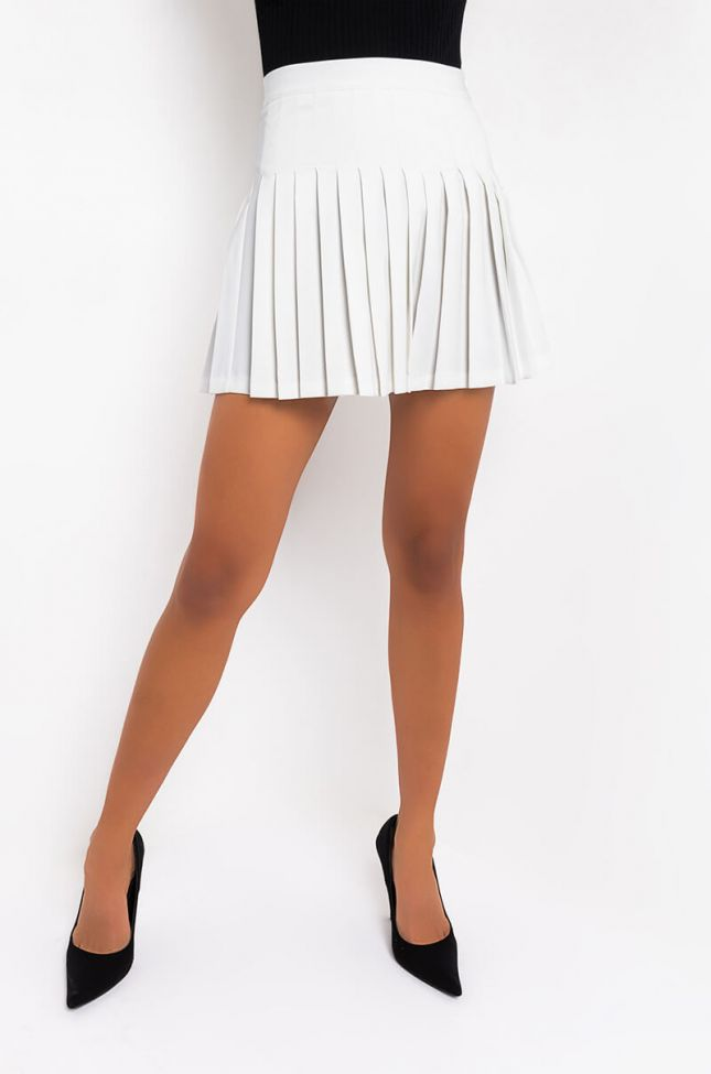 Front View Swiss Kiss Pleated Skirt in White