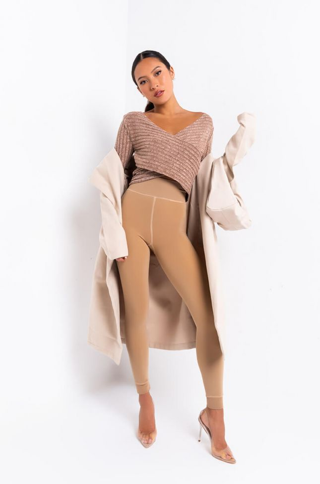 Switch It Up Long Sleeve Criss Cross Front Crop Top in Brown