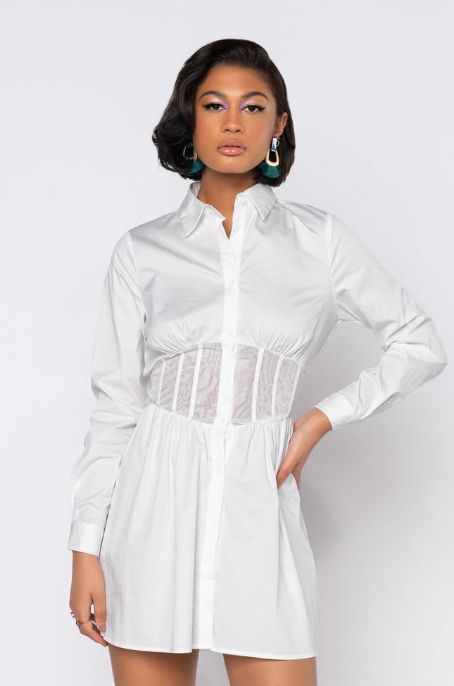Front View Switch It Up On Em Mini Button Up Dress With Snatched Corset in White