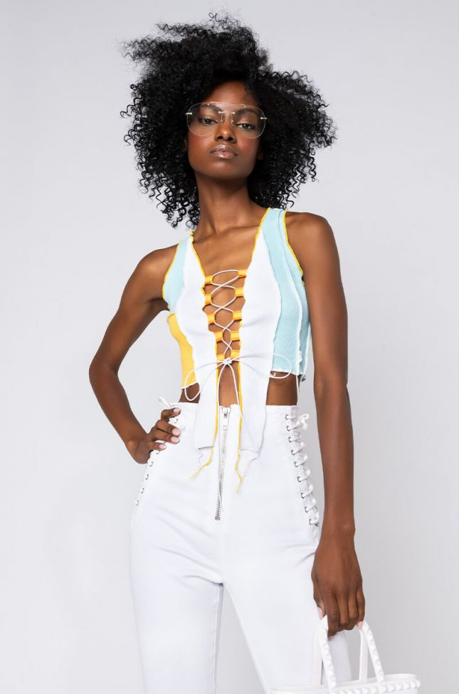 Front View Take A Chance Contrast Trim Lace Up Crop Tee in White Multi