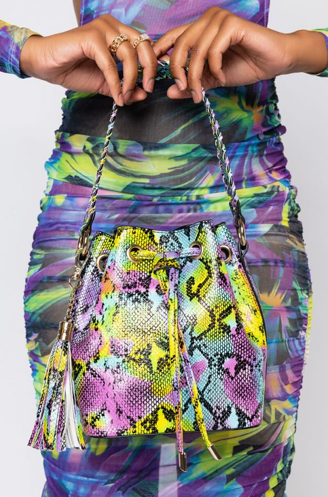 Front View Take A Ride Snake Bucket Bag in Multi