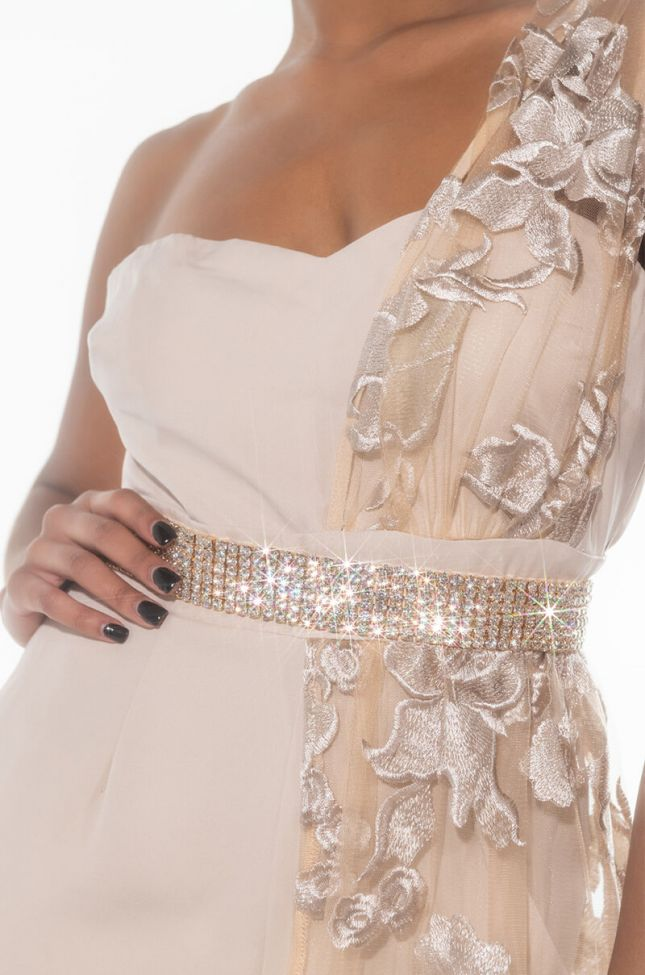 Front View Take It Easy Thick Rhinestone Body Chain