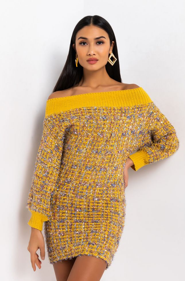 Front View Take It From Here Off The Shoulder Long Sleeve Knit Mini Dress in Yellow
