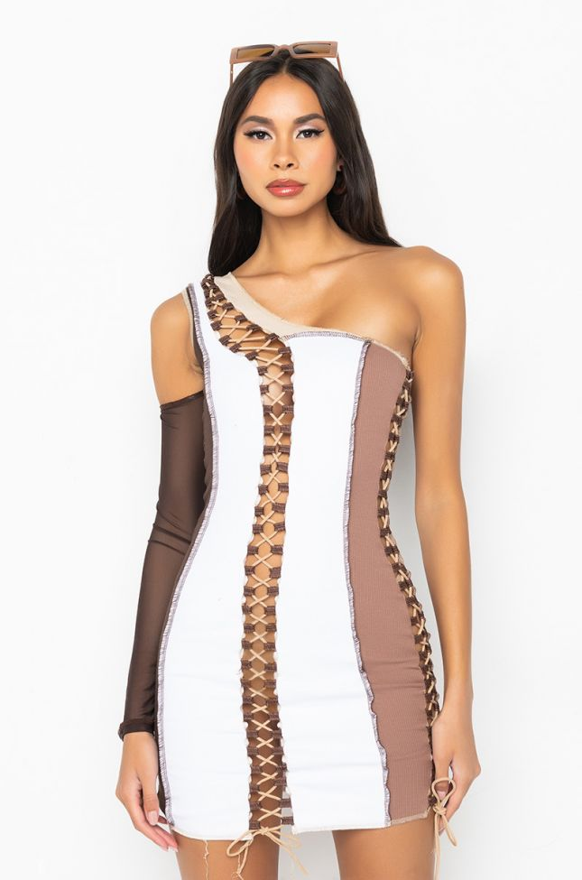 Side View Take It Or Leave It Color Block Mini Dress With One Sleeve