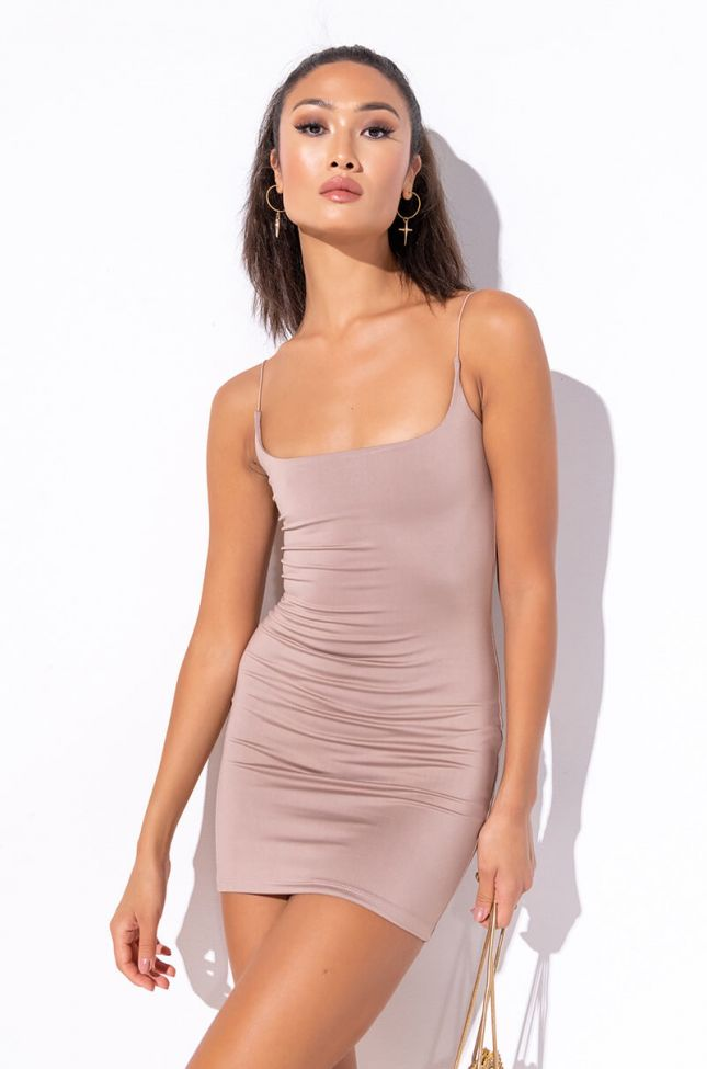 Front View Take It Or Leave It Mini Bodycon Dress in Brown