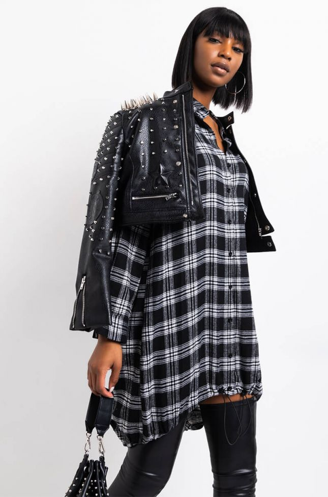 Front View Take It To The House Long Sleeve Plaid Button Up Shirt Dress in Black Multi