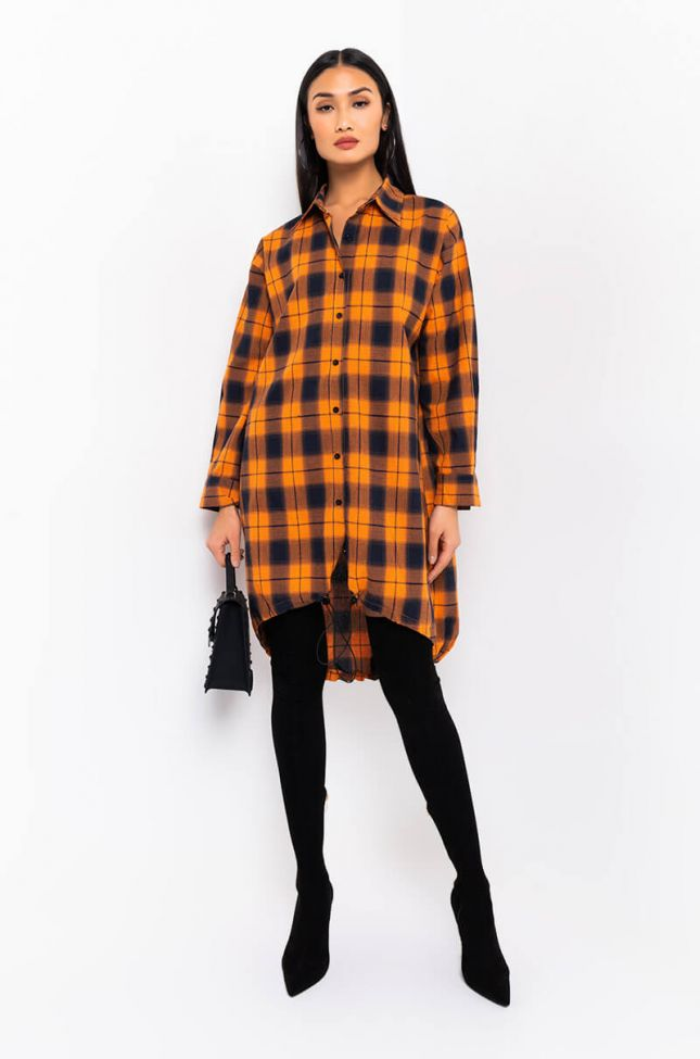 Full View Take It To The House Long Sleeve Plaid Button Up Shirt Dress in Black Multi