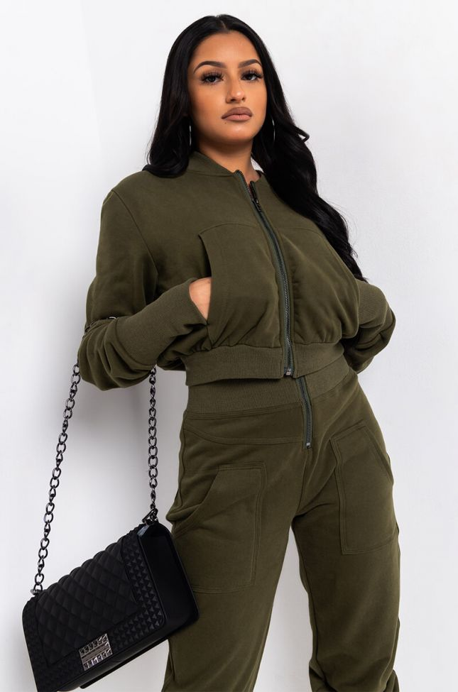 Front View Take Me Higher Sweatshirt in Olive