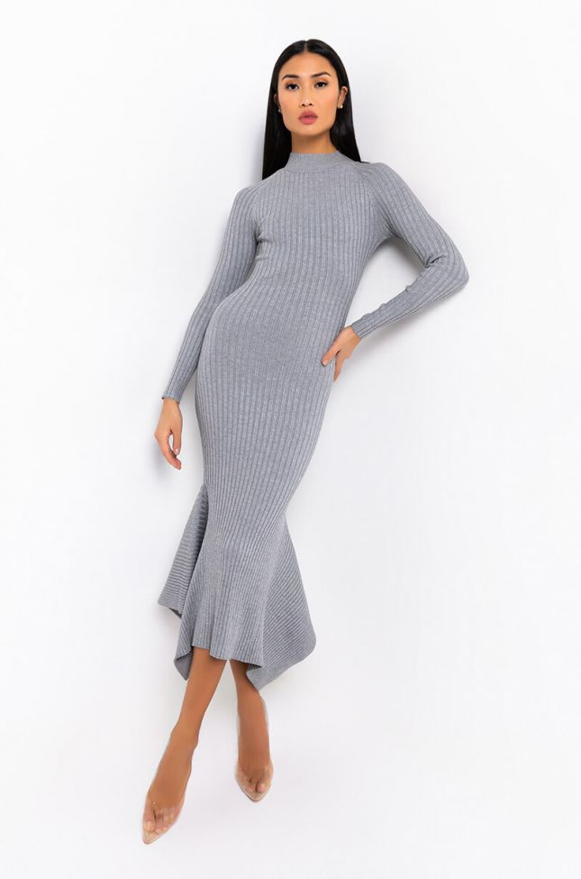Front View Take Me Out Maxi Ribbed Flare Dress in Red