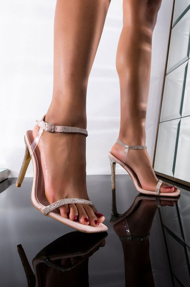 Front View Take Me Out Stiletto Sandal in Nude
